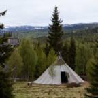 Lavvo i en camp i skogen